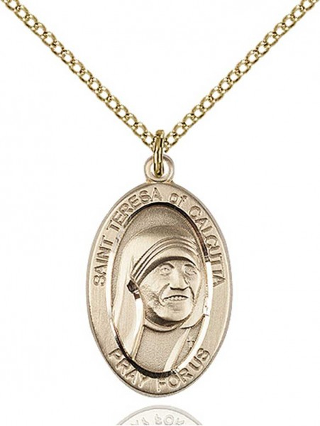 St. Teresa of Calcutta Oval Medal - 14KT Gold Filled