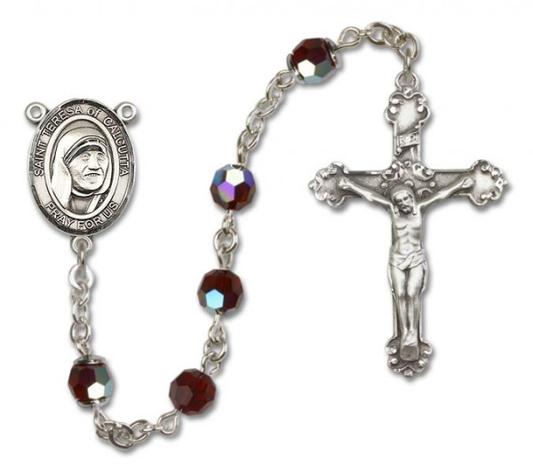 St. Mother Teresa of Calcutta Sterling Silver Heirloom Rosary Fancy Crucifix - Garnet