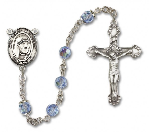 St. Mother Teresa of Calcutta Sterling Silver Heirloom Rosary Fancy Crucifix - Light Sapphire