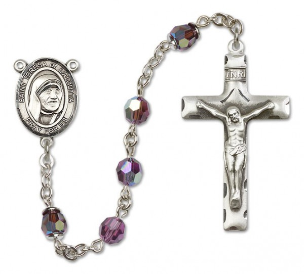 St. Teresa of Calcutta Sterling Silver Heirloom Rosary Squared Crucifix - Amethyst