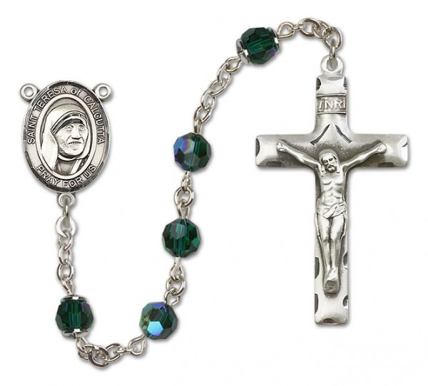 St. Teresa of Calcutta Sterling Silver Heirloom Rosary Squared Crucifix - Emerald Green