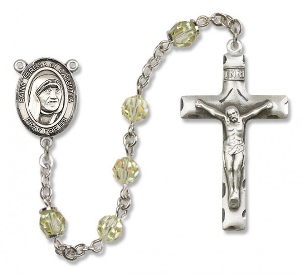 St. Teresa of Calcutta Sterling Silver Heirloom Rosary Squared Crucifix - Jonquil