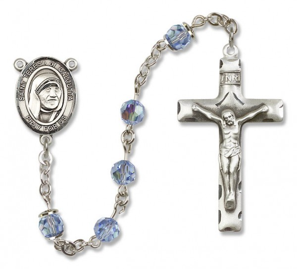 St. Teresa of Calcutta Sterling Silver Heirloom Rosary Squared Crucifix - Light Sapphire