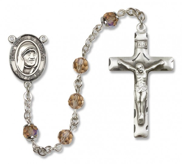 St. Teresa of Calcutta Sterling Silver Heirloom Rosary Squared Crucifix - Topaz