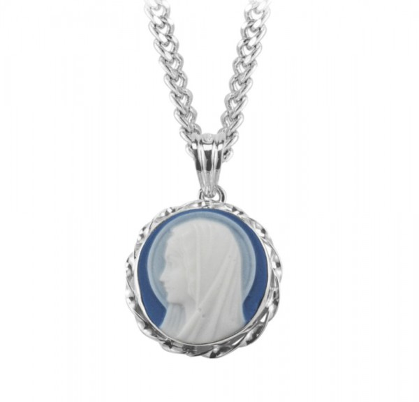 Blessed Virgin Cameo Necklace Blue and White - Blue | Silver