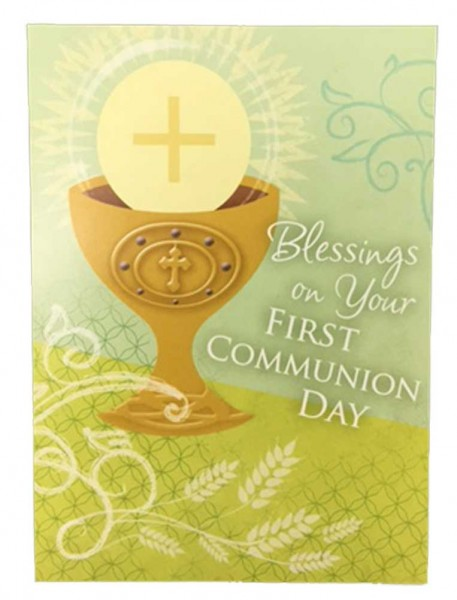 Blessings on Your First Communion Day Card - Green