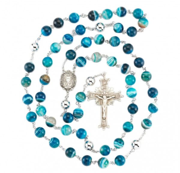 3a91f52e2f5bc Blue Agate 10mm Rosary in Sterling Silver