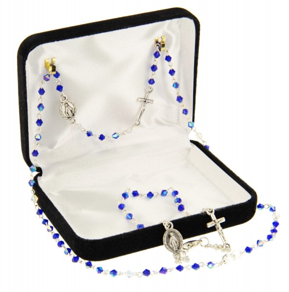 Blue Beaded Rosary Necklace and Bracelet Set - Blue
