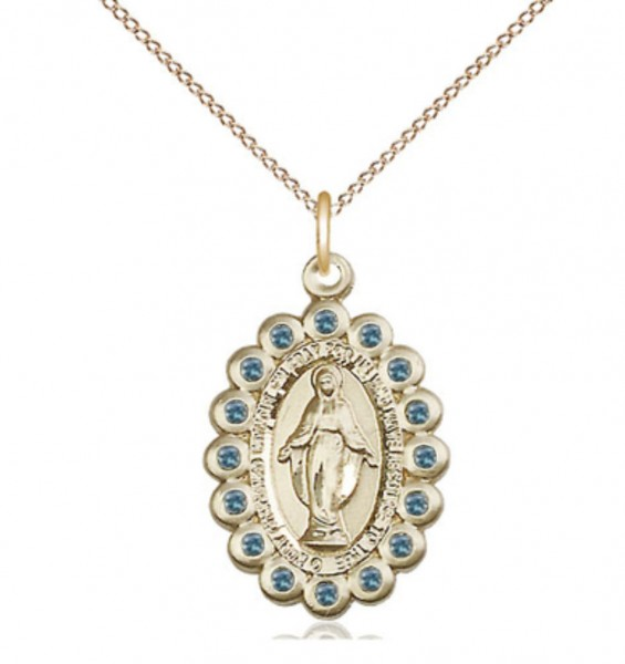 14kt Gold Filled Miraculous Pendant with 18 Gold Filled Lite Curb Chain.