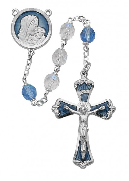 Blue Enamel Rosary with White and Blue Beads - Blue