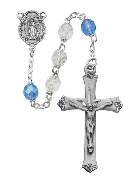 Blue and White Bead Rosary with Enamel Floral Tips - Blue