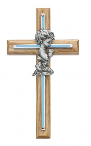 Boy Cross - Oak Wood with Silver and Blue Accent - Blue