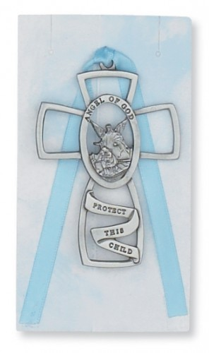 Boy Guardian Angel Crib Cross, Pewter - Silver
