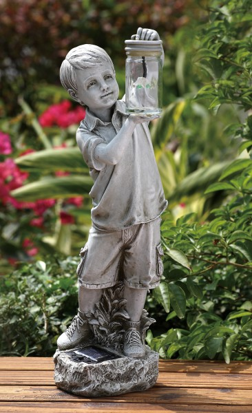 Boy Holding Firefly Jar Solar Garden Statue 18.25 inches - Stone