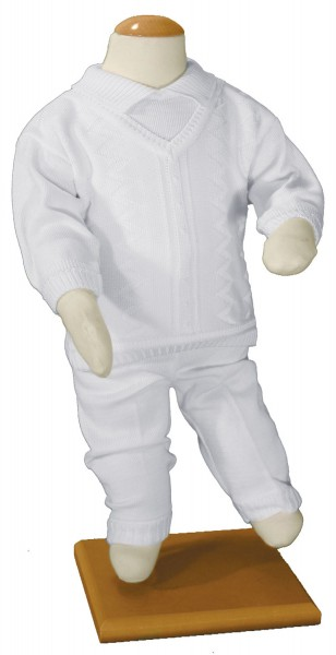 Boys 100% Cotton Knit Two Piece Baptism Outfit - White