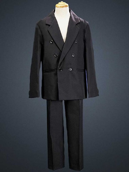 Boy's 2 Piece Double Breasted Black Suit  - Black