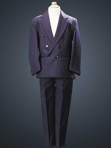 Boy's 2 Piece Double Breasted Navy Suit - Navy Blue