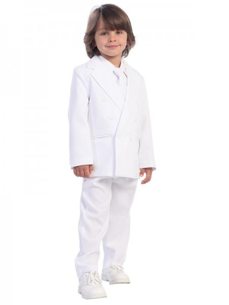 Boy's 2 Piece Double Breasted White Suit - White