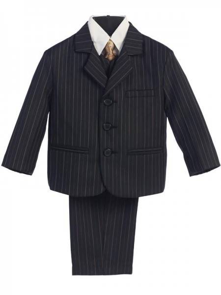 Boy's 5 Piece Black and Gold Pinstripe Suit with Gold Tie - Black | Gold Pinstripe