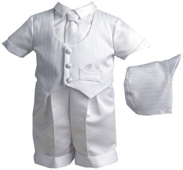 Boy's Pinstripe Baptism Short Set with Striped Vest - White