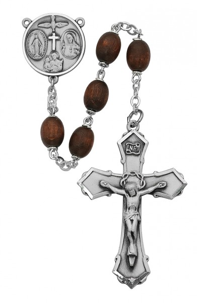 Boy's Brown Wood Confirmation Rosary - Black
