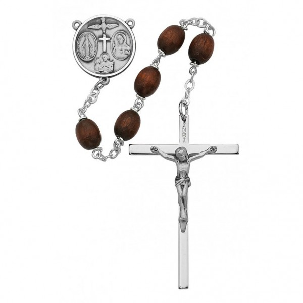 Boy's Confirmation Brown Bead Rosary - Brown