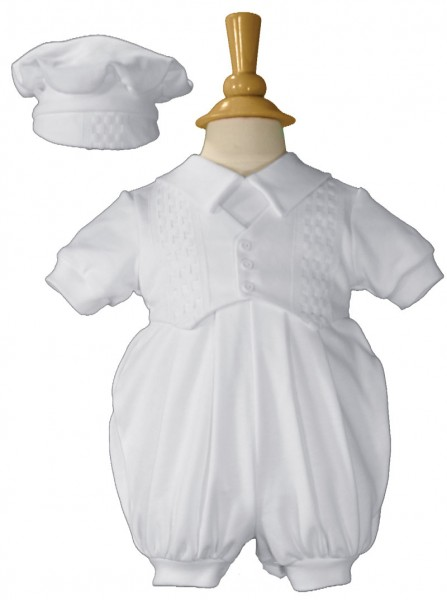 Boys Cotton Baptism Romper - White