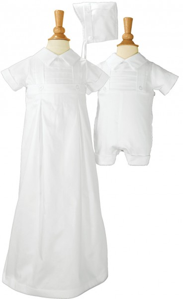 Boys Cotton Convertible Christening Set - White