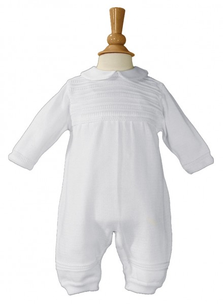 Boys Cotton Knit Baptism Coverall - White