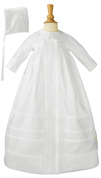 Boy's Cotton Sateen Bishop's Baptism Gown - White