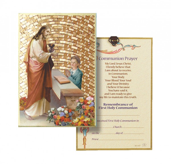 Boy's First Holy Communion Gold Leaf Plaque - Full Color
