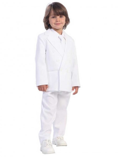 Boy's Husky 2 Piece Double Breasted White Suit - White