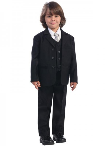Boy's Husky 5 Piece Black Suit - Black