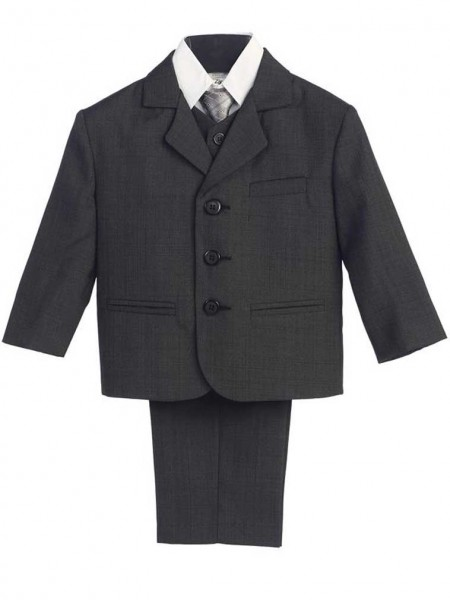 Boy's Husky 5 Piece Dark Gray Suit - Dark Gray