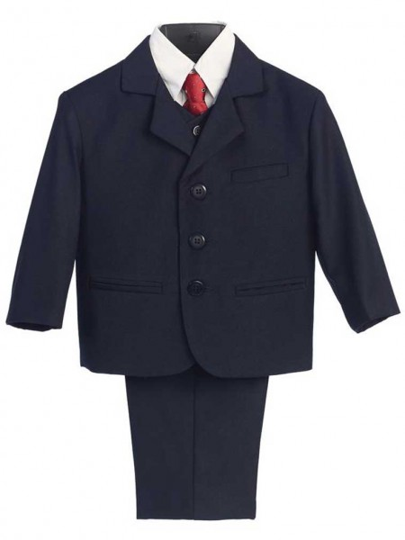 Boy's Husky 5 Piece Navy Suit - Navy Blue