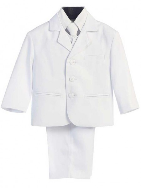 Boy's Husky 5 Piece White Suit - White