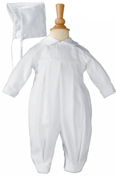 Boys Irish Baptism Coverall with Embroidery Shamrock Cluster - White