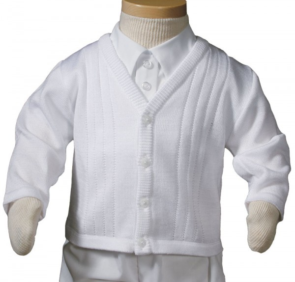 Boys Knit Acrylic Sweater for Christening or Baptism - White