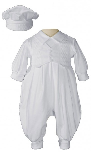 Boy's Long Pant Romper with Windowpane Embroidery - White