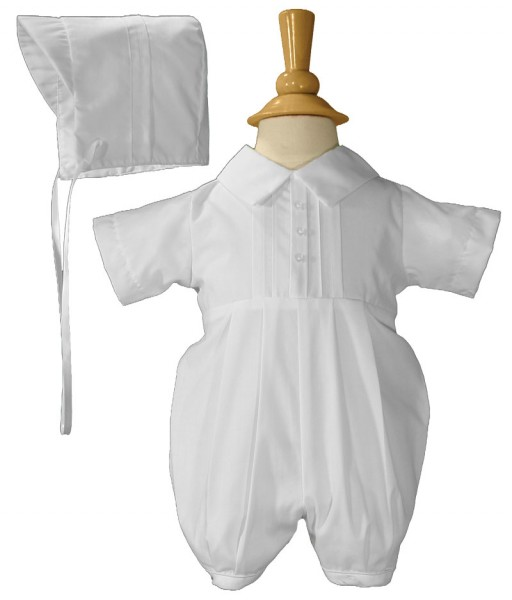 Boys Baptism Short Romper with Pin Tucking - White