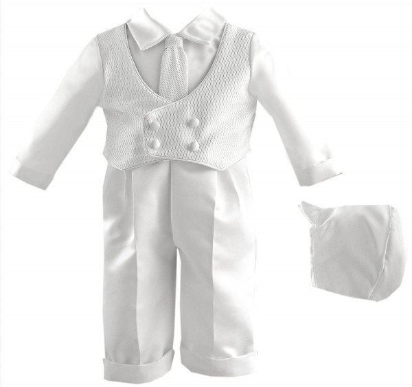 Boy's Satin Christening Pant Set with Pique Vest - White