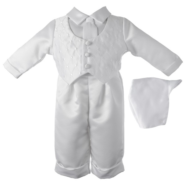 Boy's Satin Long Sleeve Baptism Pant Set with Diamond Embroidered Vest - White