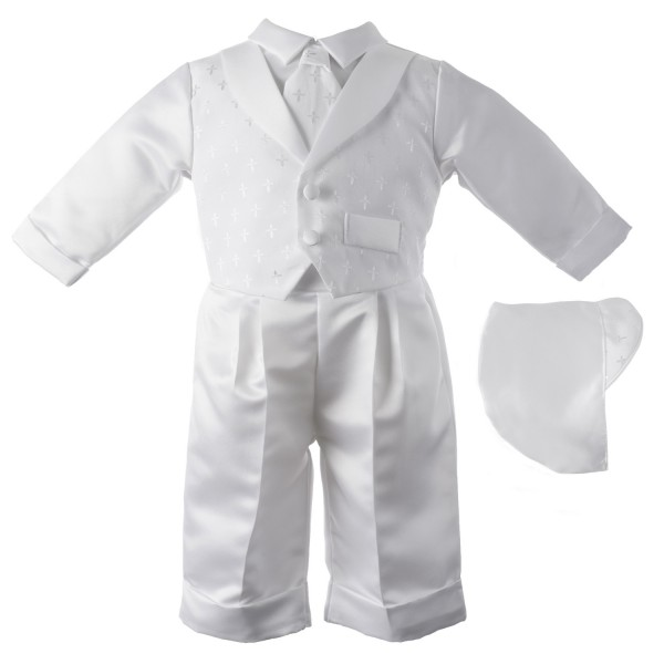 Boy's Satin Long Sleeve Baptism Pant Set with Dobby Crosses - White