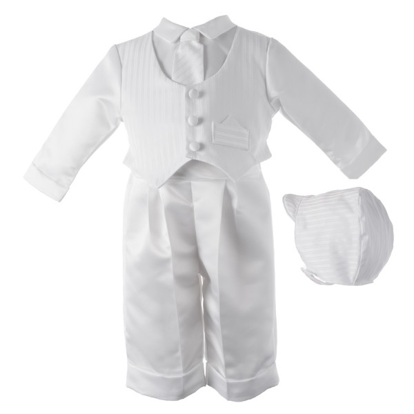 Boy's Long Sleeve Striped Christening Pant Set - White