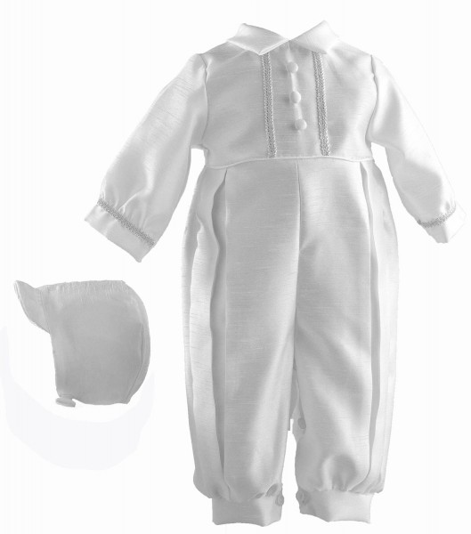 Boy's Shantung Long Baptism Romper with Brocade Trim - White