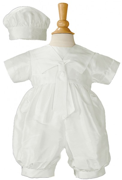 Boys Silk Dupioni Romper with Sailor Collar - White