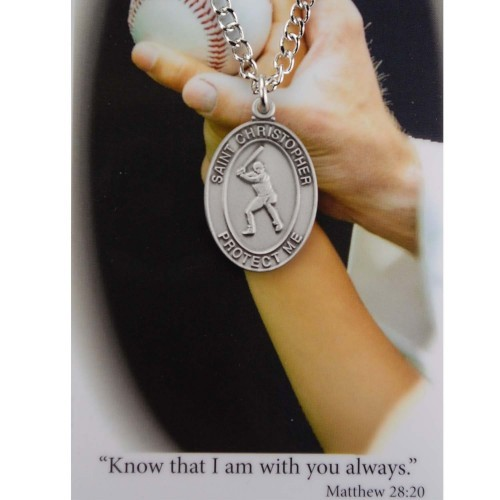 Boy's St. Christopher Baseball Medal 24 Inch Chain Prayer Card - Silver tone
