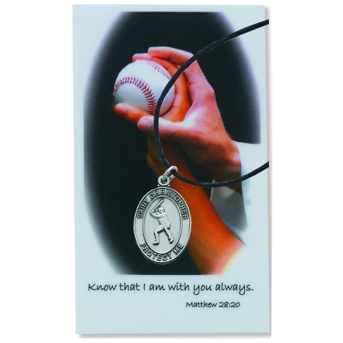 Boy's St. Christopher Baseball Medal Leather Chain Prayer Card - Silver tone