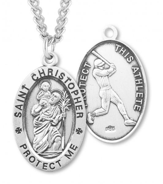 88380b0c353 Men's Sterling Silver Saint Christopher Baseball Medal - Sterling Silver