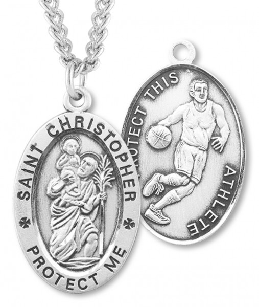 Boy's St. Christopher Basketball Medal Sterling Silver - Silver